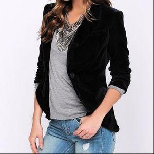 Black Velvet Blazer Jacket From The Limited